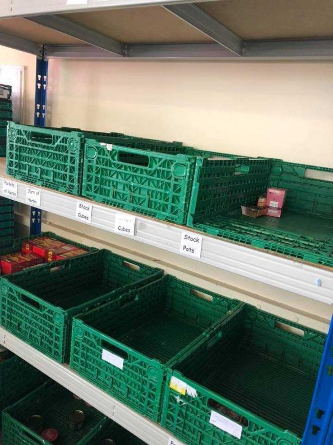The charity's empty shelves