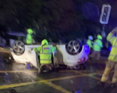 Car flips onto roof in Hamilton as two rushed to hospital