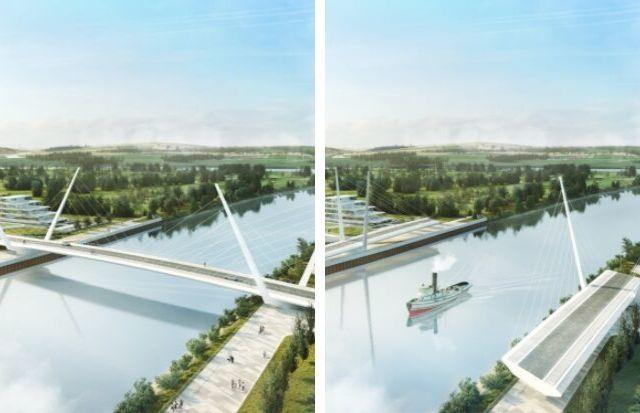 The original artist impressions of the proposed River Clyde bridge by Kettle Collective/Sweco
