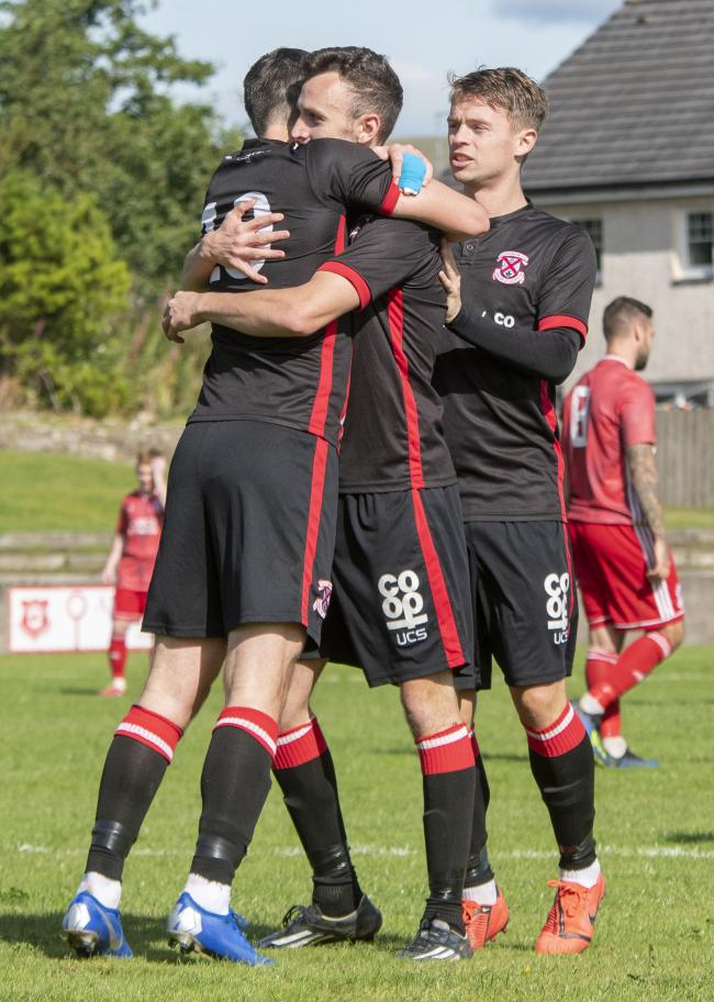 Delight for Jordan Shelvey after notching his fiftieth Bankies goal                      Photo: Stevie Doogan