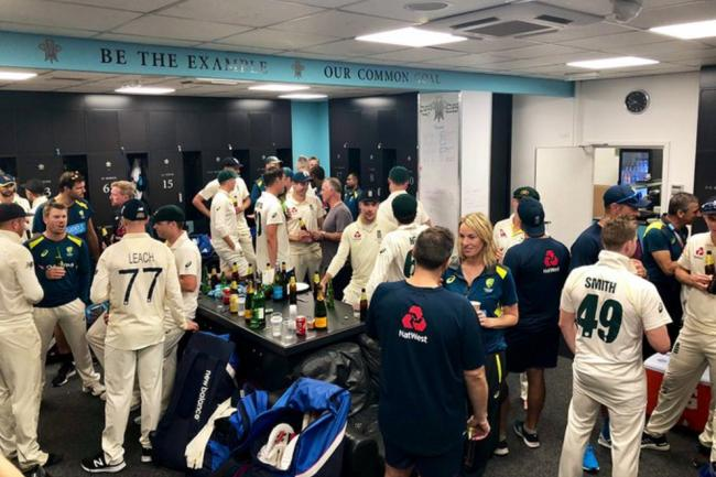 Staff and players from the England and Australia Ashes squads chat after the final game of the 2019 series