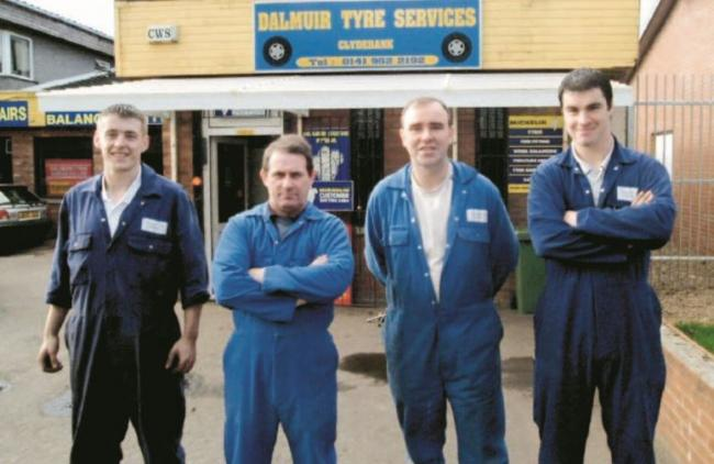 Johnny Mulligan, Gordon Young, John Smith and Craig Campbell celebrate 10 years of Dalmuir Tyres