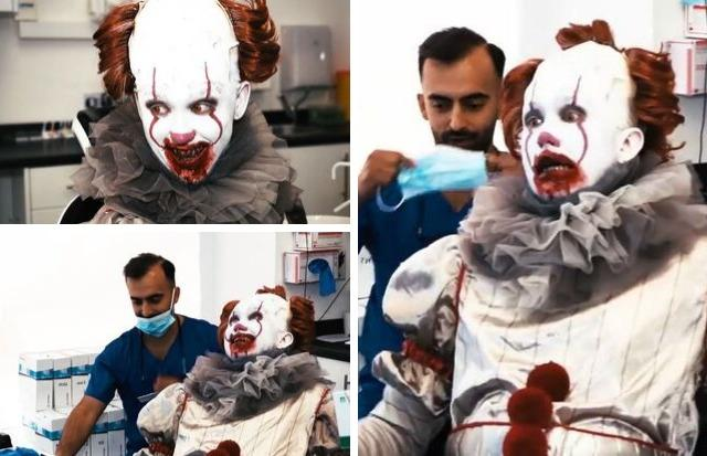 WATCH: Clydebank's Pennywise trip to dentist ahead of new role at scare cinema