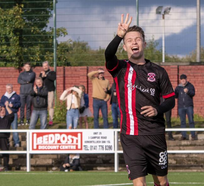 Hat-trick hero Lynass ensured all three points were staying at Holm Park (Photo: Stevie Doogan)