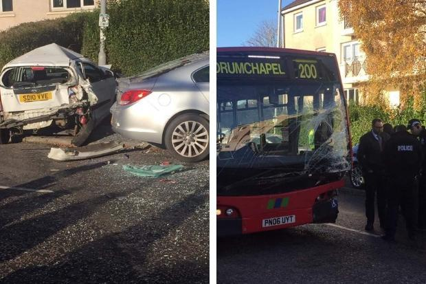 Bus crashes into parked cars on Drumchapel's Drumry Road East