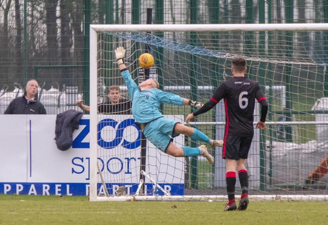 Marc Waters beaten by Carlo Monti's fine finish in the 83rd minute (Photo: Stevie Doogan)