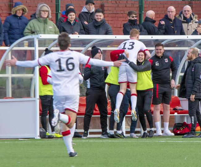 Jubilation in the Bankies dugout as Aaron Millar has Bankies level before the break (Photo: Stevie Doogan)