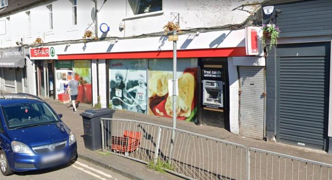 The ATM is outside the Spar in Dumbarton Road, Duntocher