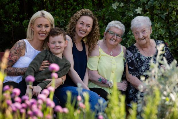 Clydebank Post: Five generations of the family were photographed in 2016 as tenants of Dalmuir Park Housing Association. From left, Emma Carr, Jayden Cunningham, Lee-Ann Tinline, Mary Barr and Maisie McCann. Photo: Martin Shields