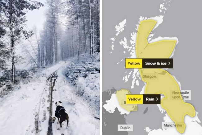 A weather warning for snow and ice is in place in Clydebank - and across mainland Scotland and much of northern England