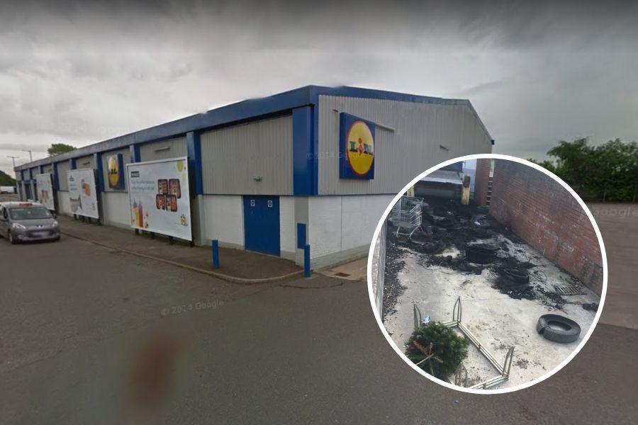 Clydebank crime: Scrap tyres set on fire behind former Lidl supermarket