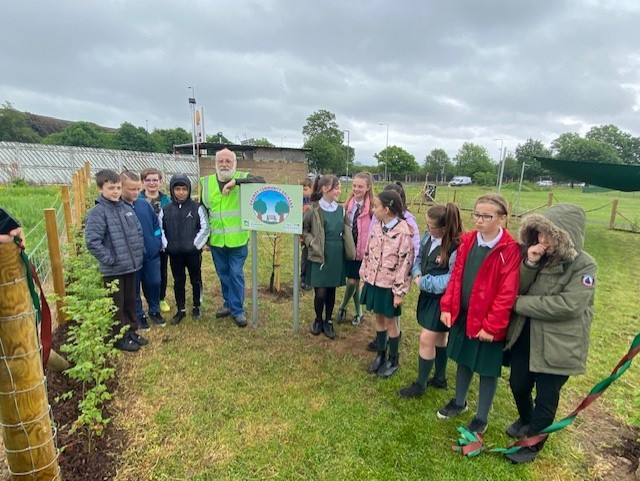 Drumry's Linear Park opens new orchard community garden by primary pupils