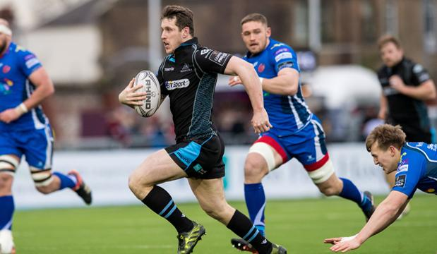 04/03/17 GUINNESS PRO 12  GLASGOW WARRIORS V NEWPORT GWENT DRAGONS (47-17)  SCOTSTOUN - GLASGOW  Glasgow Warriors' Mark Bennett in action