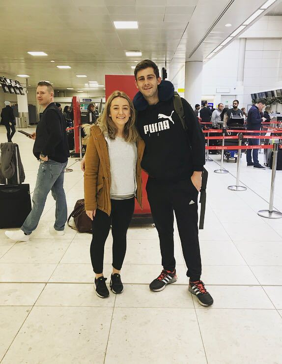James Austin with girlfriend Katherine at Glasgow Airport before their departure