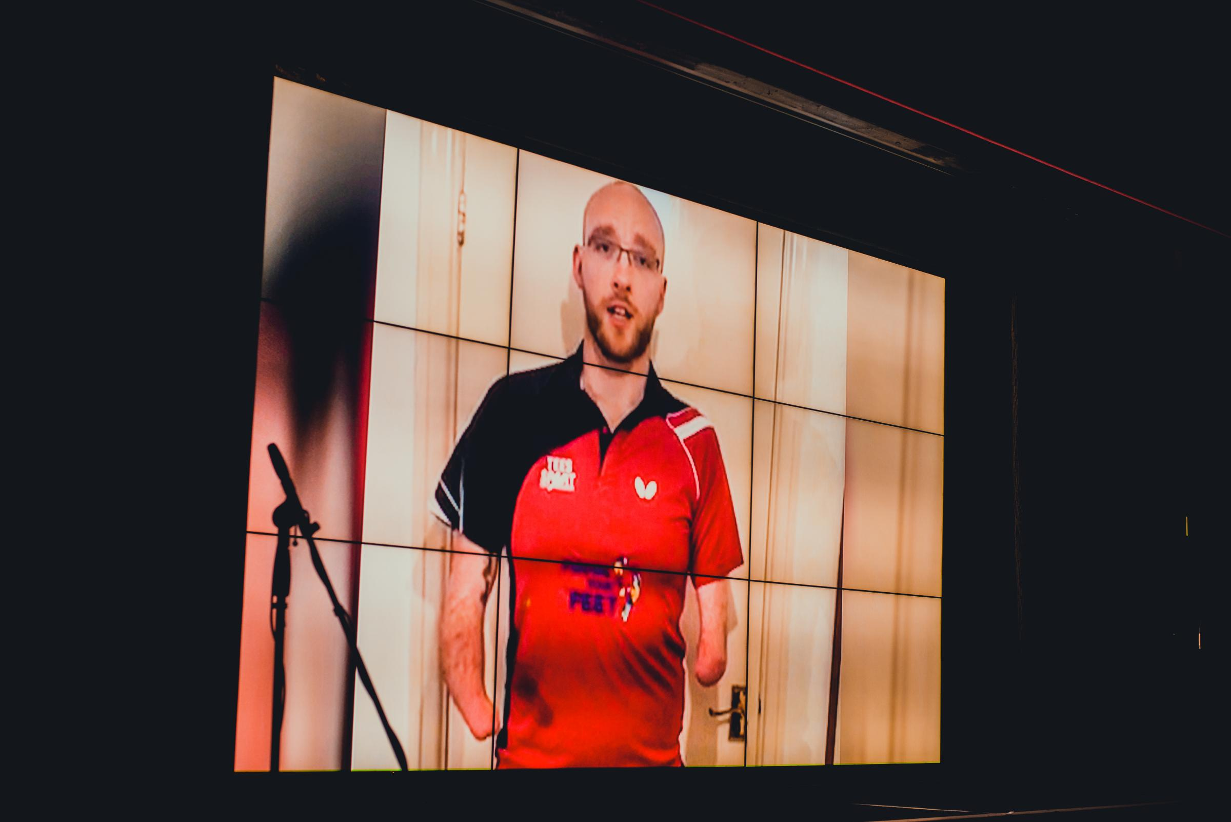 Martin Perry was shown on the big screen in Edinburgh