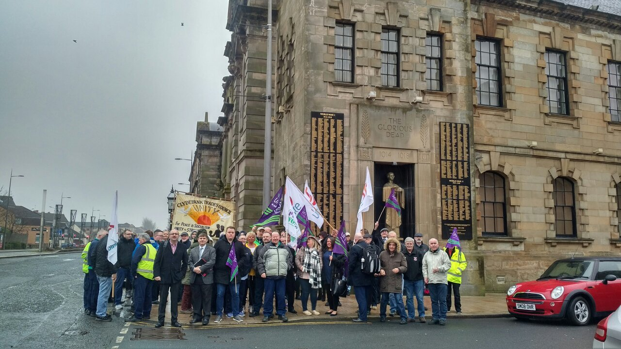 Union workers protested cuts outside Clydebank Town Hall last month