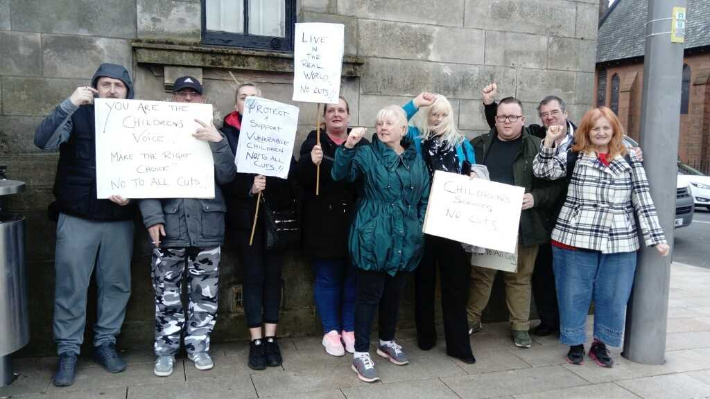 Protesters gathered outside Clydebank Town Hall on Wednesday