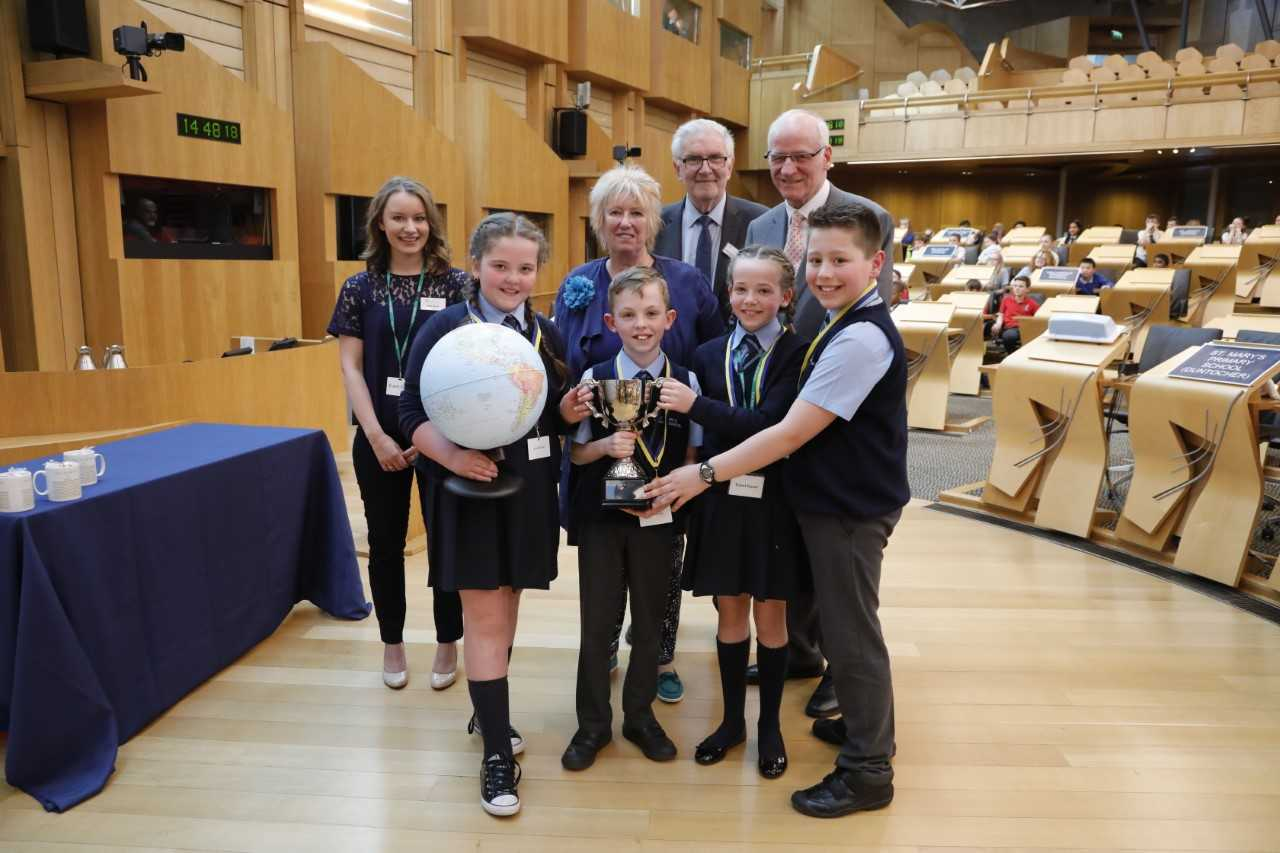 St Mary's collect their prize