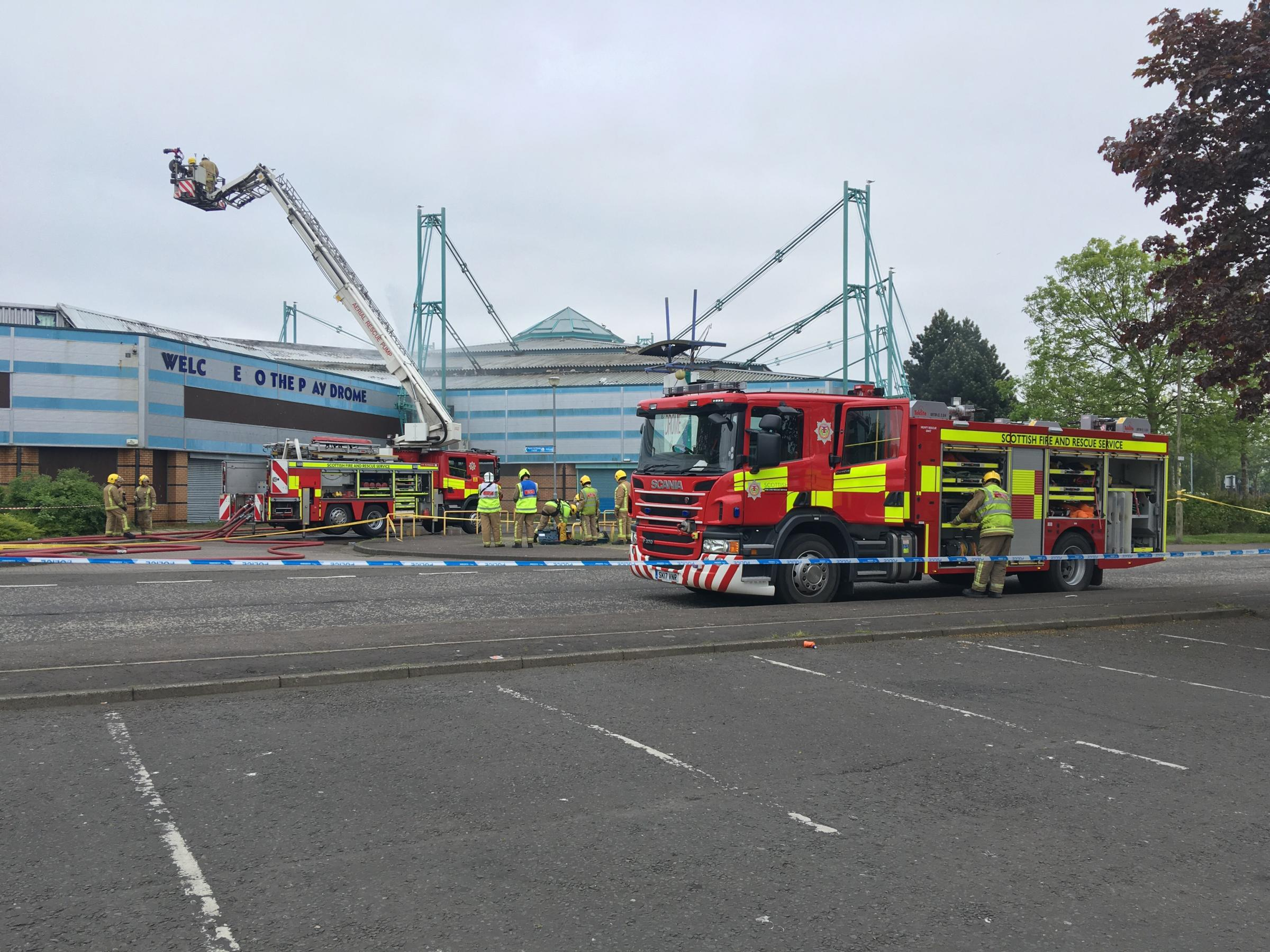 Fire crews at the scene of the blaze at Clydebank's Play Drome