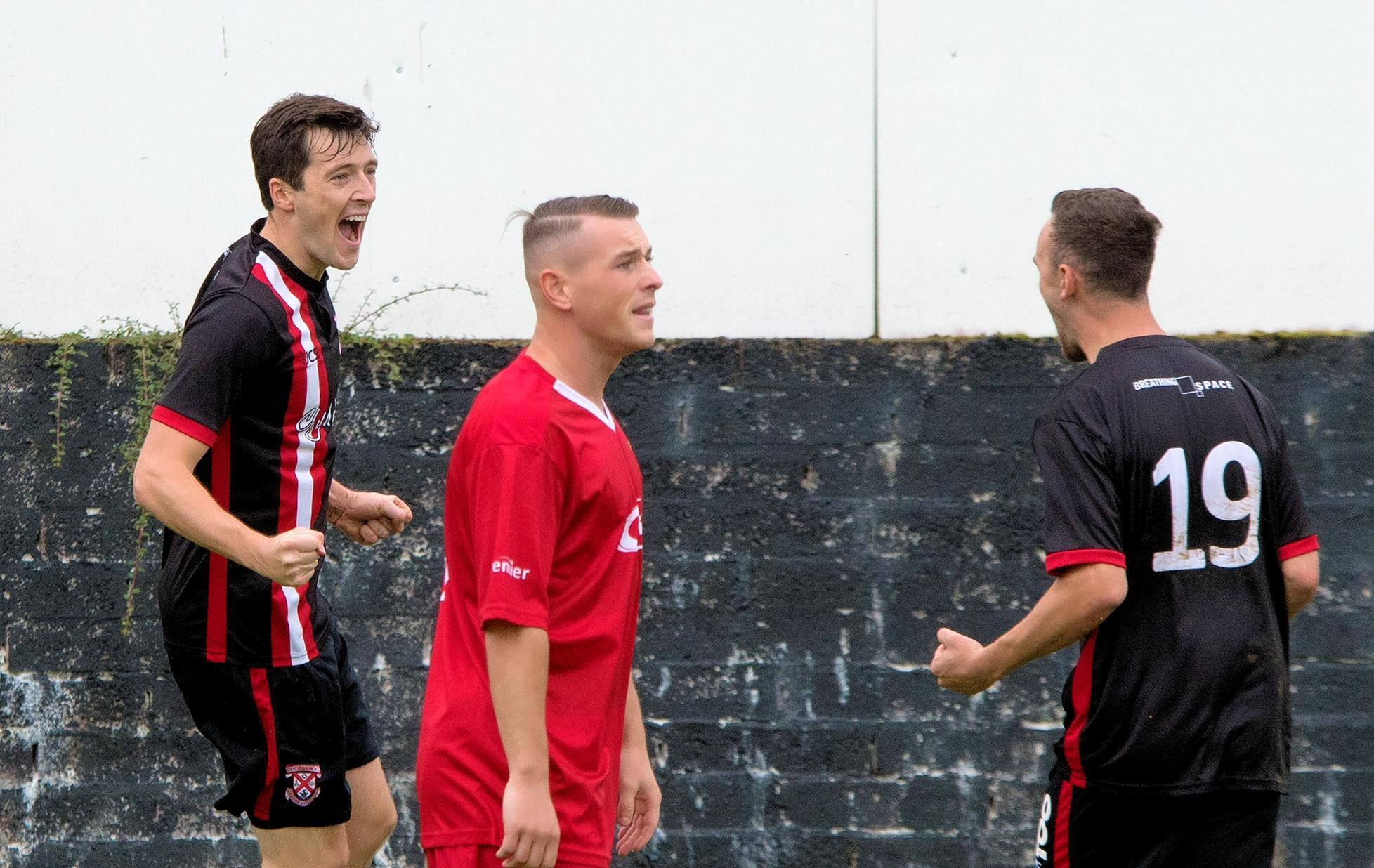 Little celebrates giving Bankies an early lead           Photo: Stevie Doogan