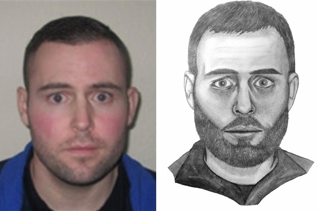 Jonathan Kelly and an artist's impression of what he may look like with a beard