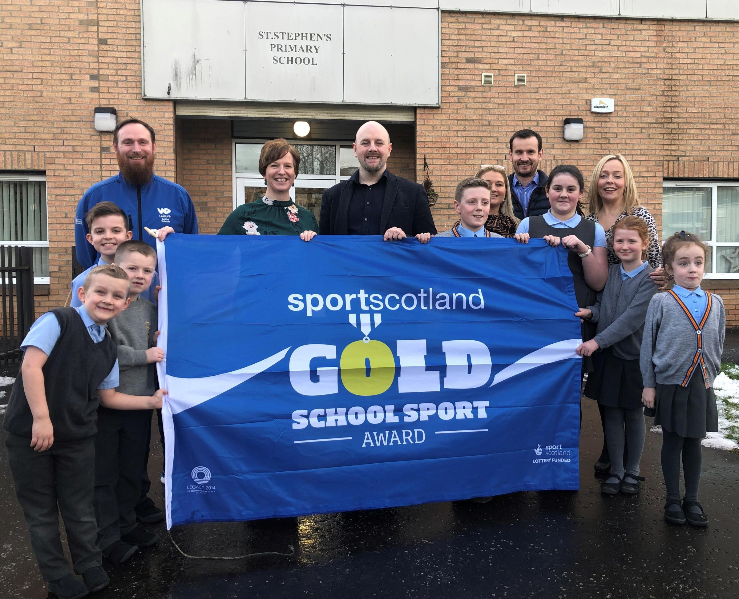 St Stephen's Primary in Clydebank received the Gold Award for sports