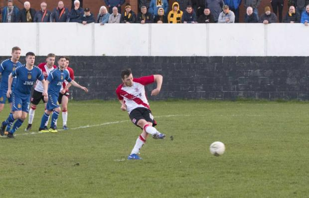 Clydebank Post: Little breaks the record with a composed spot-kick against Auchinleck Talbot (Photo: Stevie Doogan)
