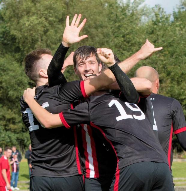 Clydebank Post: The 27-year-old hit the 50 mark earlier this season and suitably celebrated (Photo: Stevie Doogan)