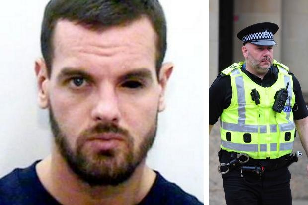 Sergeant Brian Simpson, right, was attacked by Craig Brown, who praised cop-killer Dale Cregan, left