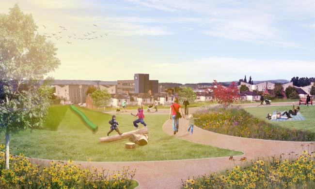 The former school site will be transformed into a community green space